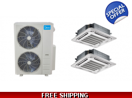Midea 20.5 Seer 2×24000btu Ceiling Cassette Mini Split Heat Pump AC
