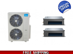 Midea 20.5 Seer 2×24000btu 2 Zone Slim Ducted Mini Split Heat Pump AC