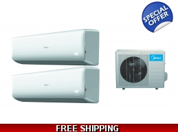 Midea 21 Seer 2x18000 Btu 2 Zone Mini Split Heat..