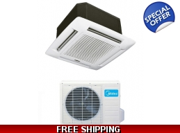 Midea 18000 Btu 16.5 Seer Ceiling Cassette Mini Split Heat Pump AC