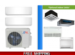 C&H 2 Zone 18K Mini Split Heat Pump AC Sophia Series up to 22 SEER