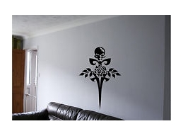 Tribal Skull, Sword & Roses Wall Sticker Wall Art Decor Vinyl Decal Mural