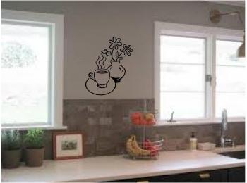 Coffee And Flowers Kitchen Wall Sticker Wall Art Vinyl Decals Kitchen Decor