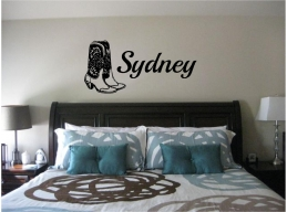 Cowboy Boots & Personalized Name Wall Sticker Wall Art Decor Vinyl Decal Sticker