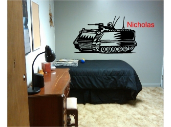 MilitaryTank & Personalized Name Wall Sticker Wall Art Decor Vinyl Decal Mural
