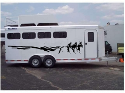 Mules Running Border Horse Trailer Decal Stickers 8x70 Set of 2 Stickers
