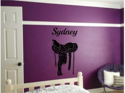 Horse Saddle & Personalized Name Wall Sticker