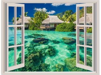 Tropical Island Beach Window View Repositionable Wall Sticker Wall Mural 36x27
