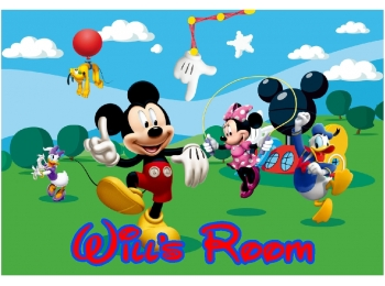 Mickey Mouse & Friends & Personalized Name Wall Sticker Mural