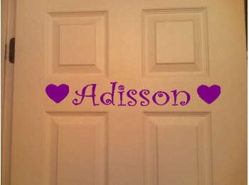 Personalized Name for Kids Door Hearts or Butterflies