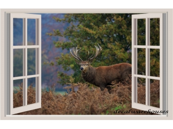Deer & Window View Repositionable Wall Sticker