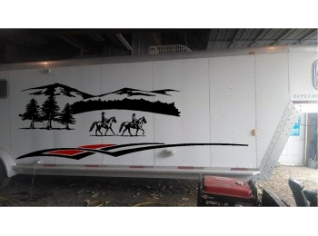 Large Horse Trailer Landscape Decal Sticker Kit With Stripes