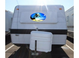 Personalized Beach & Palms Camper RV Vinyl Sticker Full Color Camper Stickers
