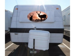 Deer Sunset Camper RV Vinyl Sticker Full Color Camper Graphics Stickers 20x36