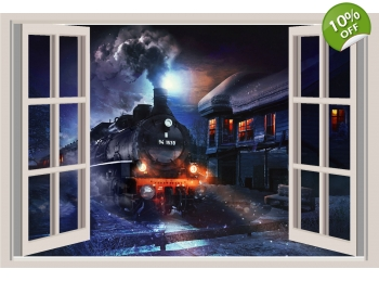 Locomotive Train Window View Repositionable Color Wall Sticker Wall Mural 3 FT