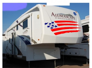 American Flag Camper RV Graphic Kit Vinyl Decal Stickers 20x50