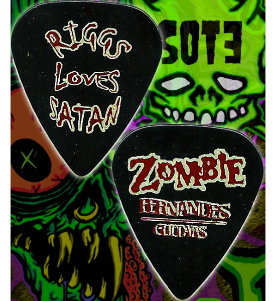 Riggs Loves Satan Zombie guitar pick from 1998