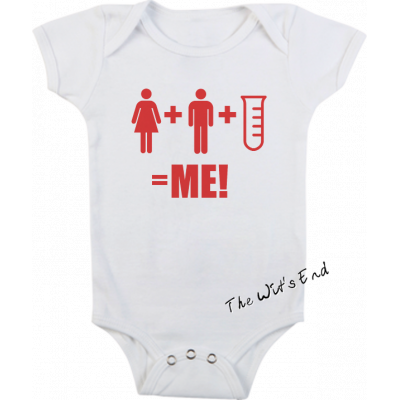 Mommy + Daddy + Test Tube = Me onesie