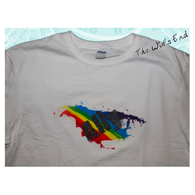 LGBTQ Ally rainbow splotch hand screened tee