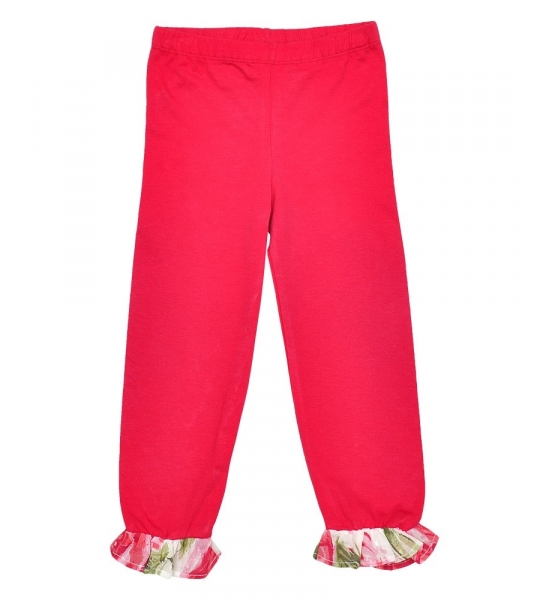 Girls Red Leggings with Floral Ankle Detail