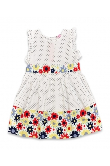 Girls White Floral/Navy Polka Dot Dress