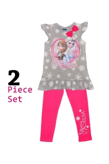 Girls Frozen Grey Top/Pink Leggings Set