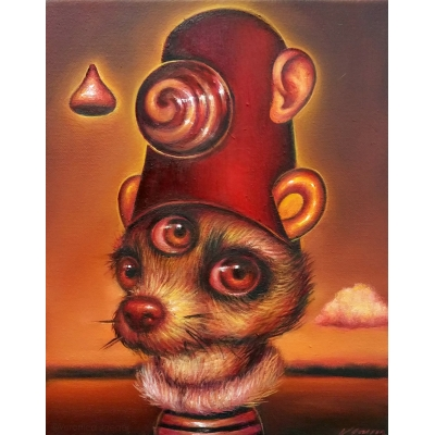 Veronica Jaeger - Dog in a Red Hat