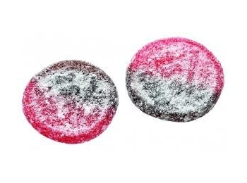 Strawberry Liquorice Hard Disks 100g