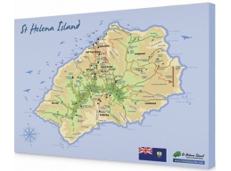 Map of St. Helena on mounted canvas