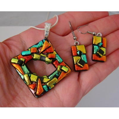 Diamond Dichroic Glass Pendant and Earring Set includes necklace