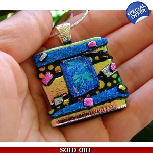 Dragonflies Dichroic Glass Pendant, Picasso Style