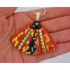 Red Dichroic Glass Pendant includes necklace Picasso Style Fan