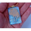 Gold Flamingo Dichroic Glass Pendant includes necklace