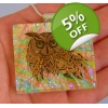 Owl Flamingo Dichroic Glass Pendant includes nec..