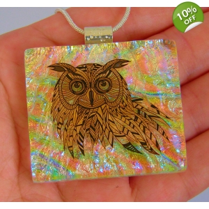 Owl Dichroic Glass Pendant includes necklace