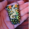 Gecko Dichroic Glass Slide Pendant, Picasso Style