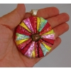 Large Dichroic Glass Round Pendant includes necklace Picasso Style