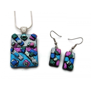Dichroic Glass Pendant and E..