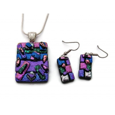 Dichroic Glass Pendant and Earring Set includes necklace