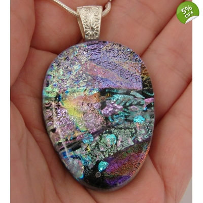 Teardrop Colourful Collage Dichroic Glass Pendant includes necklace