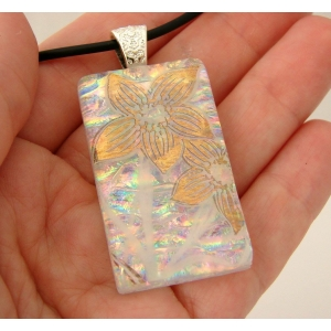Gold Flowers Dichroic Glass ..