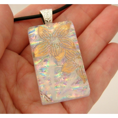 Gold Flowers Dichroic Glass Pendant includes necklace