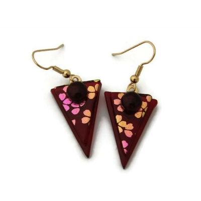 Dichroic Glass Earrings Triangles with Surgical Steel Hooks