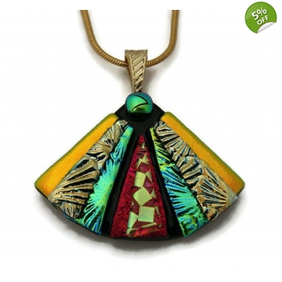 Dichroic Glass Pendant includes necklace, Picasso Style Fan