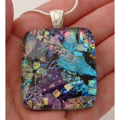 Colourful Collage Dichroic Glass Pendant includes necklace