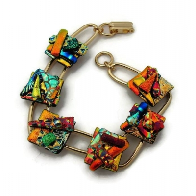 Dichroic Glass Bracelet, Picasso Style