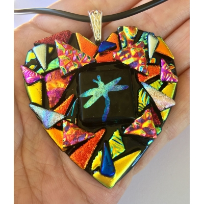 Dragonfly Heart Dichroic Glass Pendant includes necklace