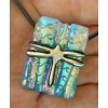 Dragonfly Dichroic Glass Pendant includes necklace, Picasso Style