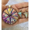 Round Picasso Style Dichroic Glass Pendant and Earring Set includes necklace
