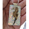 Gold Seahorse Dichroic Glass Pendant includes necklace